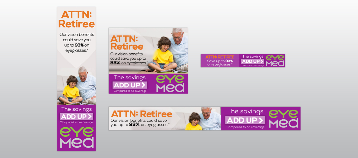 EyeMed retiree campaign banner ad creative
