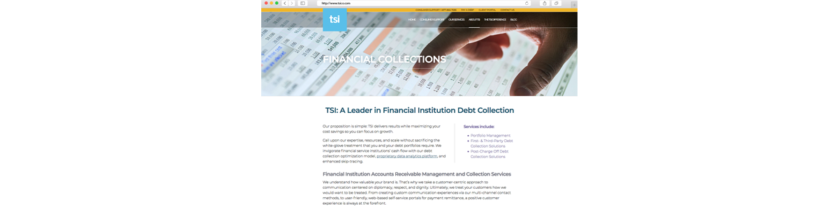 TSI Financial Collections from Website Redesign