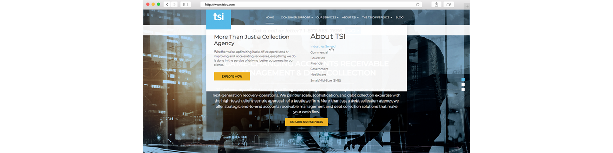TSI Mega Menu from Website Redesign